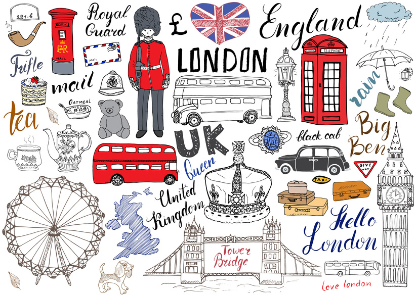 London city doodles elements collection. Hand drawn set with, tower bridge, crown, big ben, royal guard, red bus and black cab, UK map and flag, tea pot, lettering, vector illustration isolated.
